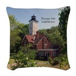 Presque Isle Lighthouse Pa Woven Throw Pillow