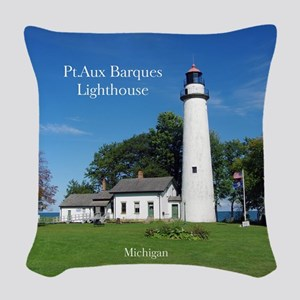 Pt Aux Barques Lighthouse Woven Throw Pillow
