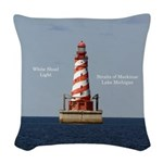 White Shoal Light Woven Throw Pillow