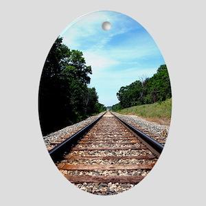 .railroad tracks. color Ornament (Oval)