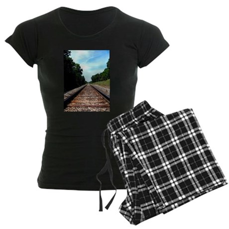 .railroad tracks. color Women's Dark Pajamas