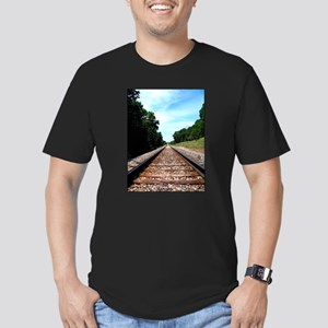 .railroad tracks. color Men's Fitted T-Shirt (dark
