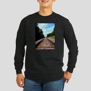.railroad tracks. color Long Sleeve Dark T-Shirt