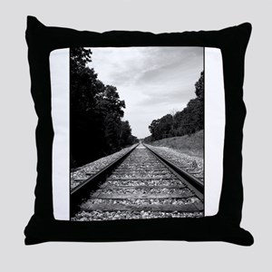 .railroad tracks. b&w Throw Pillow