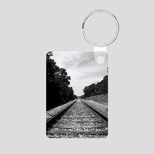 .railroad tracks. b&w Aluminum Photo Keychain