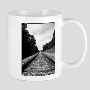 .railroad tracks. b&w Mug