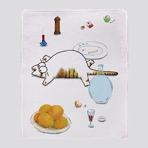 Fat Cat on Table Throw Blanket