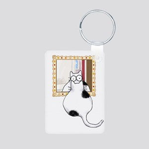 Fat Cat on Table Aluminum Photo Keychain