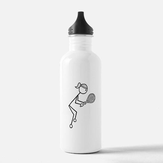 Tennis Girl Black Sports Water Bottle