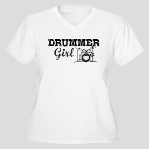 Drummer Girl Women's Plus Size V-Neck T-Shirt