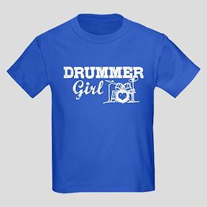 Drummer Girl Kids Dark T-Shirt