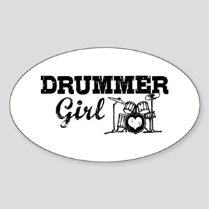 Drummer Girl Sticker (Oval)