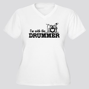 I'm With The Drummer Women's Plus Size V-Neck T-Sh