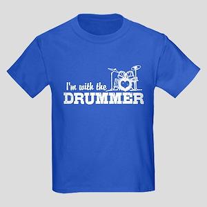 I'm With The Drummer Kids Dark T-Shirt