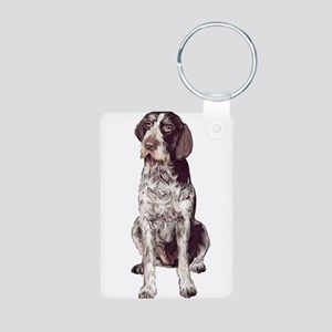 german wirehaired Pointer sit Aluminum Photo Keych
