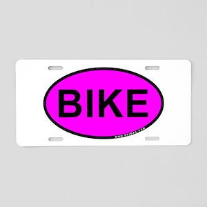 Pink BIKE Oval Aluminum License Plate