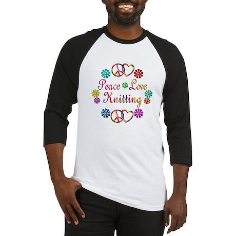 Peace Love Knitting Baseball Jersey