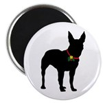 Christmas or Holiday Bullterrier Silhouette Magnet