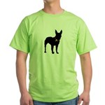 Christmas or Holiday Bullterrier Silhouette Green