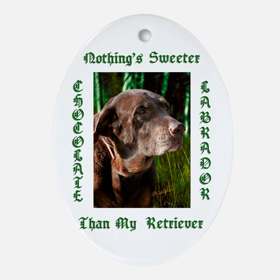 Chocolate Sweet Lab Ornament (Oval)