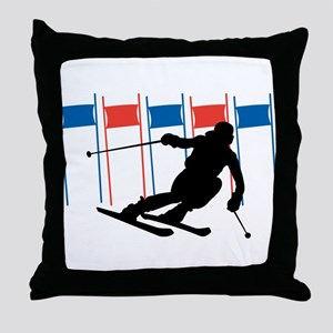 Ski Competition Throw Pillow