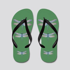 dragonflies on green Flip Flops