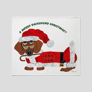 A Merry Dachshund Christmas Candy Cane Santa Throw