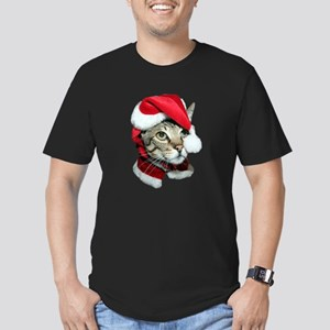Cute Santa Cat Men's Fitted T-Shirt (dark)