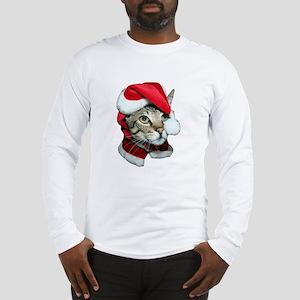 Cute Santa Cat Long Sleeve T-Shirt