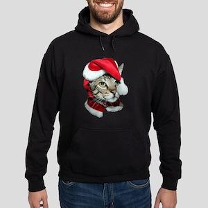 Cute Santa Cat Hoodie (dark)