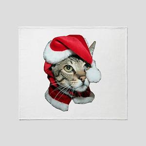 Cute Santa Cat Throw Blanket