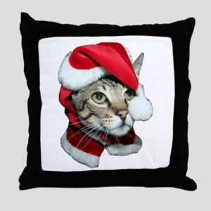 Cute Santa Cat Throw Pillow