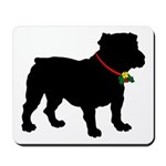 Christmas or Holiday Bulldog Silhouette Mousepad