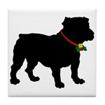 Christmas or Holiday Bulldog Silhouette Tile Coast