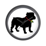 Christmas or Holiday Bulldog Silhouette Wall Clock