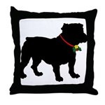 Christmas or Holiday Bulldog Silhouette Throw Pill
