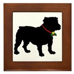 Christmas or Holiday Bulldog Silhouette Framed Til