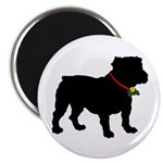 Christmas or Holiday Bulldog Silhouette Magnet
