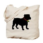 Christmas or Holiday Bulldog Silhouette Tote Bag