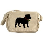 Christmas or Holiday Bulldog Silhouette Messenger