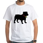 Christmas or Holiday Bulldog Silhouette White T-Sh