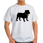 Christmas or Holiday Bulldog Silhouette Light T-Sh