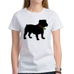 Christmas or Holiday Bulldog Silhouette Women's T-