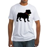 Christmas or Holiday Bulldog Silhouette Fitted T-S