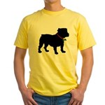 Christmas or Holiday Bulldog Silhouette Yellow T-S