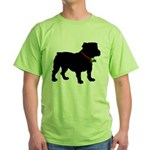 Christmas or Holiday Bulldog Silhouette Green T-Sh
