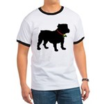 Christmas or Holiday Bulldog Silhouette Ringer T