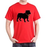 Christmas or Holiday Bulldog Silhouette Dark T-Shi