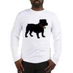 Christmas or Holiday Bulldog Silhouette Long Sleev