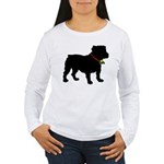 Christmas or Holiday Bulldog Silhouette Women's Lo